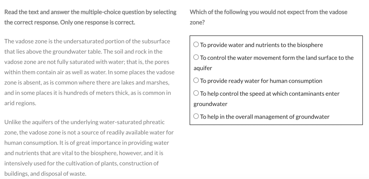 PTE Reading Multiple choice single answer